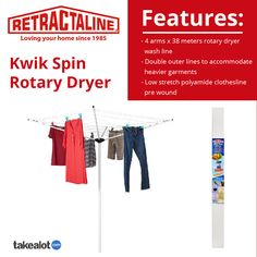 If you are looking for a top range, rotary #wash line, the @retractaline Kwik - Spin rotary #clothesline is the #perfect product for you. Get it via this link from @takealot today. Love Your Home, Clothes Line, Rotary, Spinning, Arms, Range, Link, Stuff To Buy, Shopping