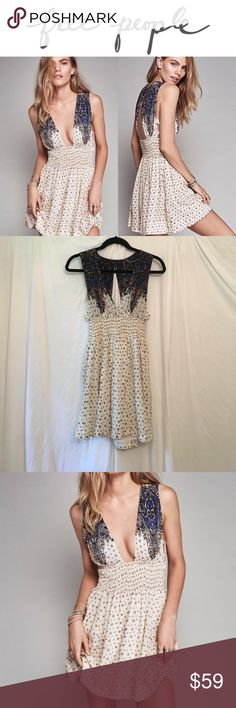 "FREE PEOPLE Walking Through My Dreams Cutout Dress Free People Walking Through My Dreams Cutout Plunge V Neck dress. Only worn twice. Perfect condition. Shoulder to hem: 32"". Free People Dresses Mini"