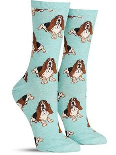 Cute Basset hound socks in purple