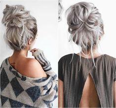 chignon-décoiffé-gros-chignon-décontracté-cheveux-gris-tendance