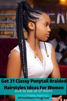 Latest Classy braided hairstyles for black women. #braidedhairstyles #ponytailbraids High Pony Hairstyle, Box Braids Hairstyles For Black Women, Braids Hairstyles Pictures, Girls Natural Hairstyles, Braided Ponytail Hairstyles, Braided Hairstyles For Black Women, Black Girl Braids, African Braids Hairstyles, Braids For Black Women