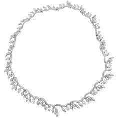 Estate Julius Cohen Diamond Foliate Fringe Necklace