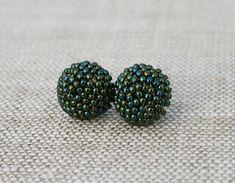 green glass post stud earrings seed bead post by koralikowyraj