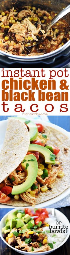 Instant Pot Chicken & Black Bean Tacos {or} Burrito Bowls ~ this tender, flavorful filling -- loaded with chicken, black beans, corn, salsa. Easy Chicken Recipes, Crockpot Recipes, Cooking Recipes, Healthy Recipes, Moist Chicken, Healthy Food, Yummy Food, Instant Pot Pressure Cooker, Pressure Cooker Recipes