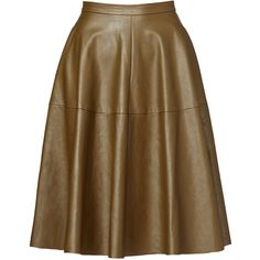 Rental J.O.A. Olive Leather Skirt (115 PLN) ❤ liked on Polyvore featuring skirts, dresses, green, full skirt, brown leather skirt, army green skirt, brown skirt and full leather skirt