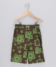 Take a look at this Brown & Green Floral Boardshorts - Infant, Toddler & Boys by iXtreme Swimwear on #zulily today!