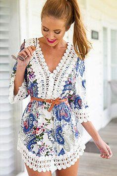 Boho Chic Print and Corchet Details Women Sleeve Beach Dress Floral Print Lace Summer Chiffon Mini Dresses Cute Dresses, Cute Outfits, Dresses With Sleeves, Summer Dresses, Mini Dresses, Dresses Dresses, Cheap Dresses, Fashion Dresses, Sleeve Dresses
