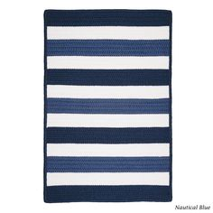 Colonial Mills Indoor/Outdoor Braided Texture Stripe Rug (8' x 11') (Blue/Off-White), Size 8' x 11', Outdoor Décor