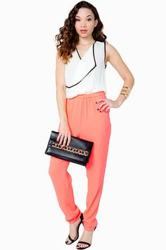 A two-toned jumpsuit featuring a slouchy fit and a surplice neck.