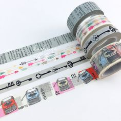Old Typewriter Washi Tape • Skeleton Key Washi Tape • Arrows Washi Tape • Newsprint Washi Tape • Patterns Washi Tape