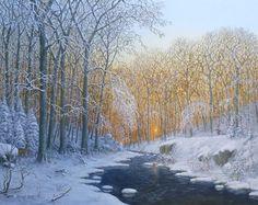 Winter am Waldbach im Dämmerlicht III, 2014, Öl auf Leinwand/Keilrahmen, 30 x 40 cm, Peter Kempf painting frei nach Anders Andersen Lundby, Kat. Nr. 151