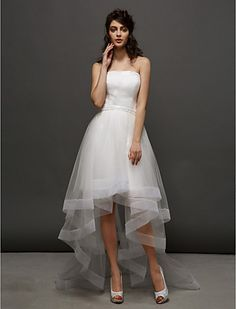 Ball Gown Strapless Asymmetrical Tulle Wedding Dress (2448983) - USD $ 89.99