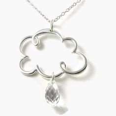 Isn't this sweet? Love! ~~ Cloud Sterling Silver Necklace Storm Clouds Rain Drop Crystal Pendant