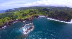 Here's an amazing aerial view of Maui, Hawaii. From up here, you will get a wonderful view of the cool ocean and an extraordinary shot of a rushing waterfall. So cool! #GoPro #Travel #Hawaii #Maui #oceanphotography #beautifulpictures #Video #goprohero4 #vacation #Surfing #SUP #Diving #Fitness #Sports #winelovers