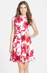 Vince Camuto Floral Print Scuba Pleated Fit & Flare Dress