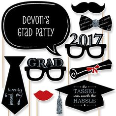 Graduation Party - Silver - 20 Piece Photo Booth Props Kit | BigDotOfHappiness.com