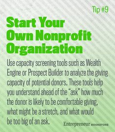 Start Your Own Nonprofit Organization: Use capacity screening tools.