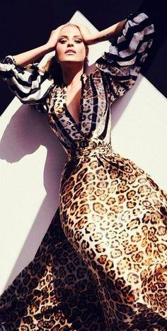 Cavalli | Grrrr! I love the drama of this leopard print maxi dress.