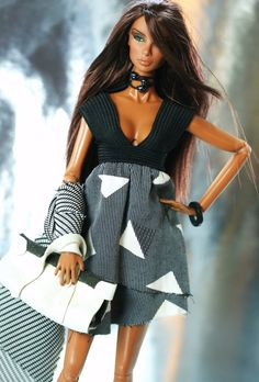 fashion royalty, barbie, black and grey dress,leather bag,shoes via Etsy