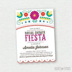 Printable Fiesta Bridal Shower Invitations - Mexican - Cinco De Mayo