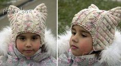 Детские шапочки спицами «Котошапки»