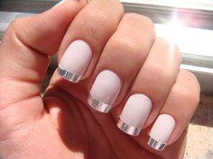 metallic tips, light pink nails