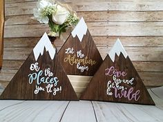 Wooden mountain signs, individual or a set of 3, Adventur...