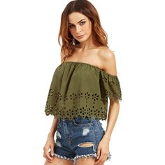 SheIn(sheinside) Army Green Off The Shoulder Hollow Crop Blouse ($10) ❤ liked on Polyvore featuring tops, blouses, cut-out crop tops, olive green blouse, off shoulder tops, off shoulder blouse and brown blouse