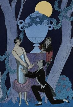 There must be an interesting story behind this rendezvous. Art Deco Paintings