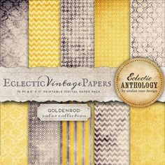 Eclectic Vintage Printable Papers - Goldenrod