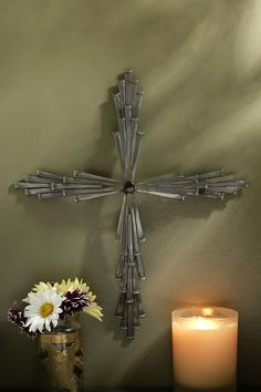 "18"" Jeweled Steel 45 Nail Cross"