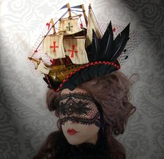 Lady Antoinette Miniature Pirate Ship Tricorn Hat Halloween Couture Pirate Queen Gothic Steampunk 18th Century Lolita