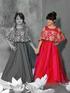 Silk party wear magenta gown
