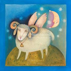 "Sheep art print by Hana Münsterová of The Czech Republic, sold in her Etsy shop ""munsterova"". This print measures 5""x7"". Hana's artwork is highly sought after and hangs in galleries and private collections throughout The Czech Republic."