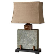 "Found it at Wayfair - Uttermost Slate 29"" H Table Lamp with Rectangular Shadehttp://www.wayfair.com/Uttermost-Slate-29-H-Table-Lamp-with-Rectangular-Shade-26321-1-UM6288.html?refid=SBP"