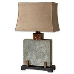 "Found it at Wayfair - Uttermost Slate 29"" H Table Lamp with Rectangular Shadehttp://www.wayfair.com/Uttermost-Slate-29-H-Table-Lamp-with-Rectangular-Shade-26321-1-UM6288.html?refid=SBP"