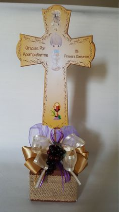 inches Cross with wood box base, Centerpiece stands 15 high. Communion Centerpieces, Communion Decorations, Table Centerpieces, First Communion Party, First Holy Communion, Basket Decoration, Craft Supplies, Diy And Crafts, Crafty