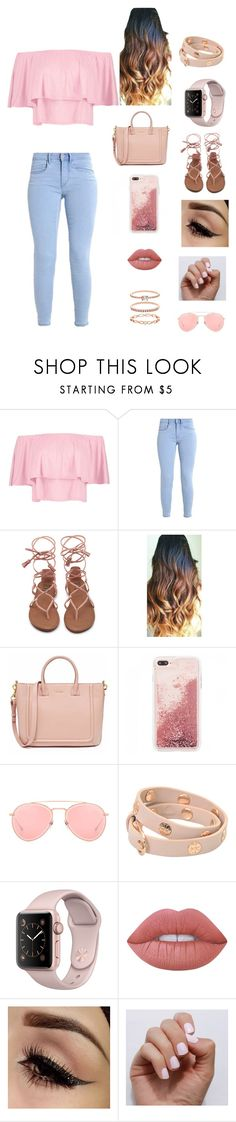 """""""Girls night out"""" by addiecarver1212 ❤ liked on Polyvore featuring Boohoo, Dita, Tory Burch, Lime Crime, SoGloss and Accessorize"""