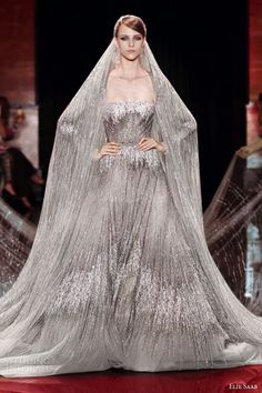 elie saab fall 2013 2014 couture wedding dress long sleeves silver