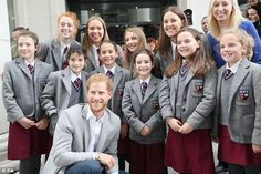7-9-2017 The royal is photographed with an excitable group of school children in St Anne's Square, ...