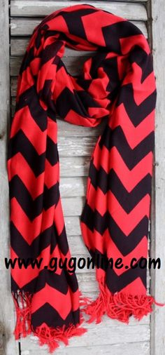Red and Black Chevron Scarf www.gugonline.com