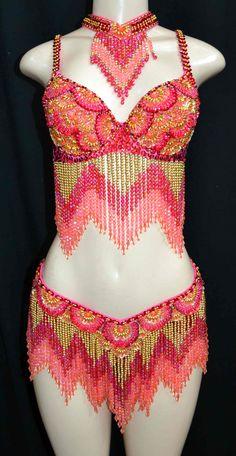 pink  & gold  dance costume