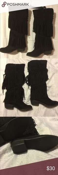 Super Cute Black Fringe Boots Black suede, fringe boots. Wore twice. Excellent condition. Low heel, 2 inches. Side zipper. Not Rated Shoes