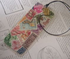 Bookmark Vintage Postage Stamp Collage by MagellansBellyStudio, $15.00