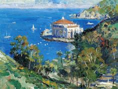 Catalina view from descanso canyon Artwork by Thomas Kinkade Hand-painted and Art Prints on canvas for sale,you can custom the size and frame