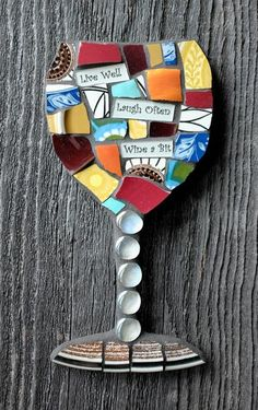 These Made To Order Whimsical Mosaic Wine glasses are made from a variety of broken dishes, china and glass to create a fun design. Word tiles can