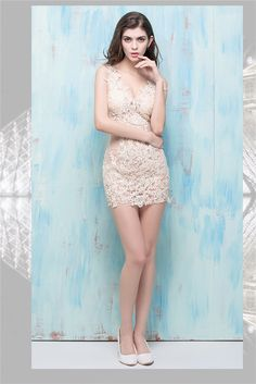 Sexy V Neck Sheer See Through Champagne Tulle Lace Night Out Club Mini Prom…