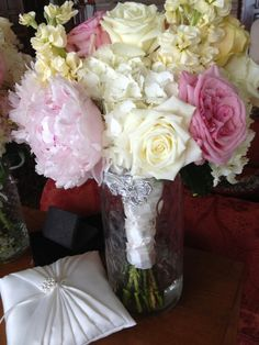 Peonies, roses, stock wedding bouquet
