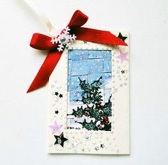 Luxury Handmade Winter Scene  Gift Tag 05 Christmas Card Crafts, Handmade Christmas, Christmas Ornaments, Unique Cards, Antique Lace, It's Your Birthday, Gift Bags, Greeting Cards, Scene