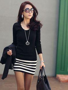 awesome Fashion High Quality Striped Slim OL Long Sleeve Dress